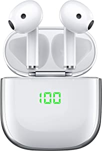 Wireless Earbuds,True Bluetooth 5.0 Headphones with USB-C & Wireless Charging Case,VEATOOL Hi-Fi Stereo & Waterproof 30H Playtime Twins Bluetooth Earphones,Touch Control Headset with Microphone