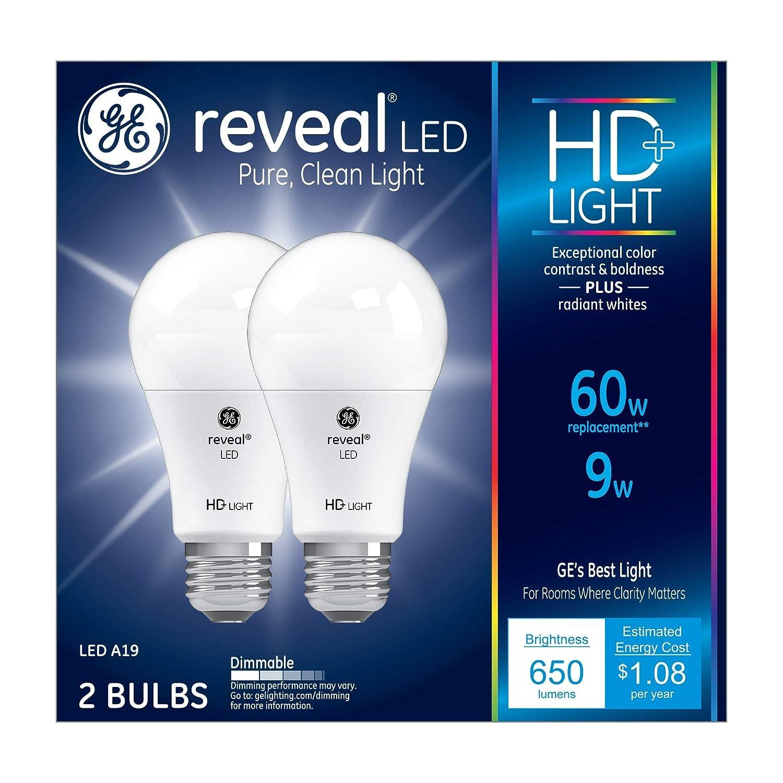 GE Lighting Reveal HD LED 9-watt (60-watt Replacement), 650-Lumen A19 Light Bulb with Medium Base, 2-Pack - 98877 (Renewed)