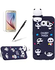 for Samsung Galaxy S6 Case,Girlyard New Fashion Girly Lucky 3D Cute [Papa Animal Pattern] Soft Silicone Practical Shockproof Slim Protective Back Case Cover for Samsung Galaxy S6-Black Panda