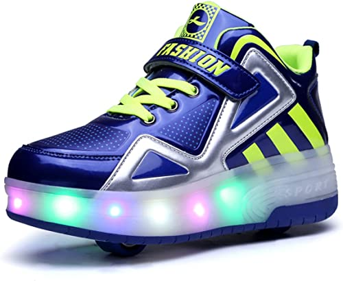 Jeneet LED Light Up Double Wheel Roller Skate Shoes Flashing Sneakers for Kids Boys Girls