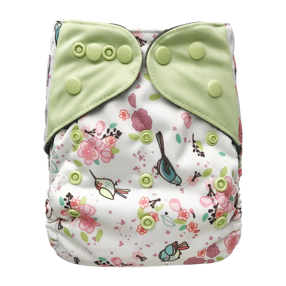 Pocket Cloth Diaper Stay-Dry Charcoal Bamboo, One Size 10-35Lb (Polar Bear) EcoAble Cloth Diapers