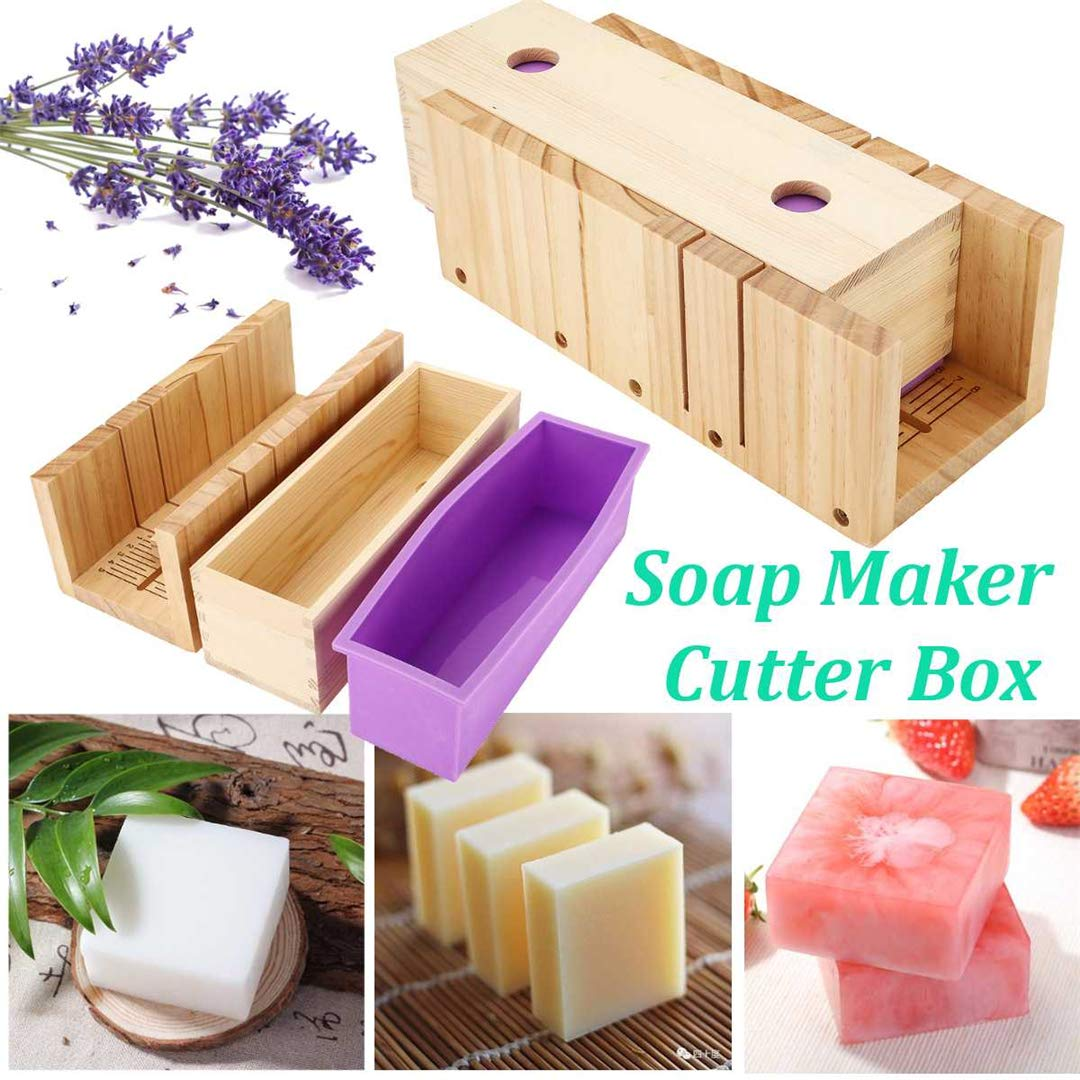 Pure Vie Adjustable Bamboo Soap Mold Loaf Cutter Mold Set (Large Size) + 1 pc Rectangle Soap Silicone Loaf Mold Wood Box for 42oz Soap Cake Making Supplies - Handmade Craft Soap Making Kitchen Tool