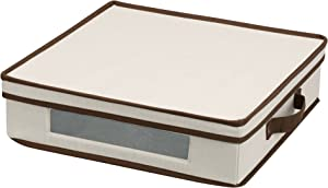 Household Essentials Natural 537 Vision Storage Box with Lid and Handles | Charger Plates and Platters Canvas with Brown Trim