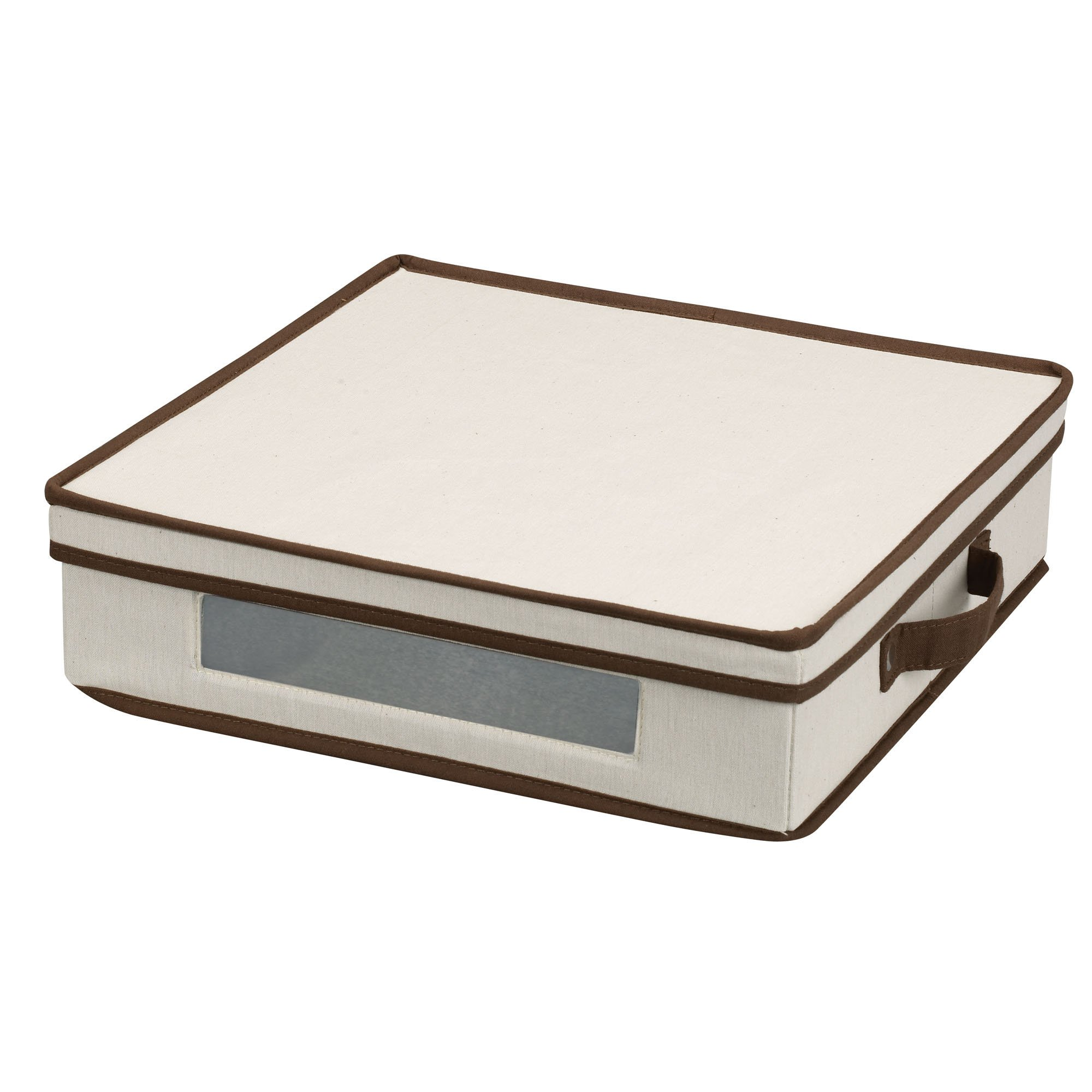 Household Essentials 537 Vision Storage Box with Lid and Handles | Charger Plates and Platters | Natural Canvas with Brown trim
