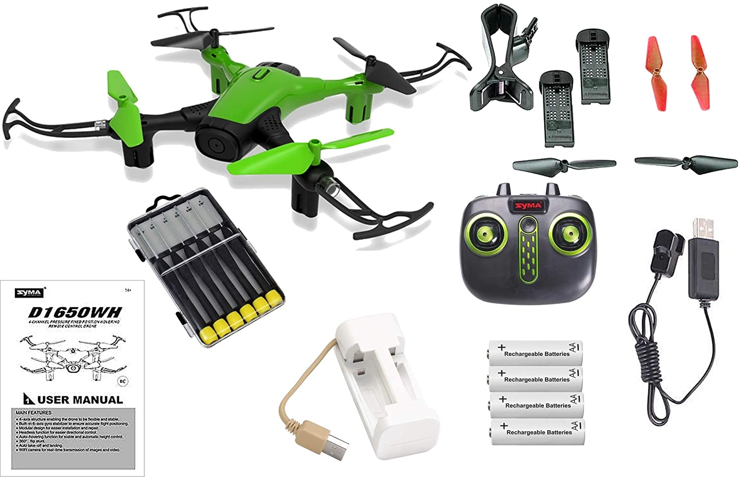 nuevo estilo Green Sky Phantom WiFi FPV Drone with with with HD Camera Live Feed 2.4GHz 4CH Bundle with Must Have Accessories - 23pcs Set  diseños exclusivos