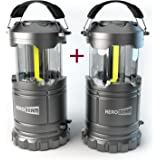 2 x HeroBeam LED Lantern V2.0 with Flashlight - 2016 COB Technology emits 300 LUMENS! - Collapsible Tough Lamp - Great Light for Camping, Car, Shop, Attic, Garage - 5 YEAR WARRANTY