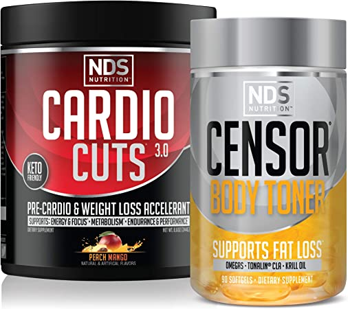 NDS Nutrition Cardio Cuts 3.0 Pre Workout Supplement Advanced Weight Loss - Peach Mango (40 Servings) & NDS Nutrition Censor – Fat Loss & Body Toner (90 Softgels)