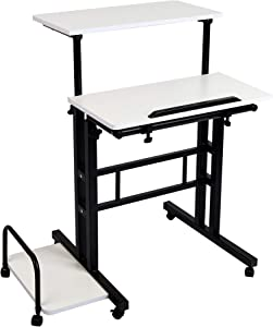 Mind Reader Mobile Sitting, Standing Desk Rolling Reversible Home Office Laptop Workstation with Side Storage, Locking Wheels, Large, White/Black