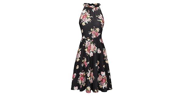 981e7d41571 OUGES Women s Halter Neck Floral Summer Casual Sundress(Floral-02