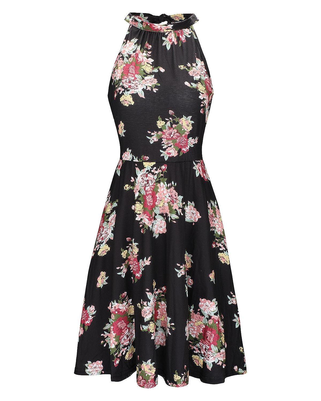 OUGES Womens Halter Neck Floral Summer Casual Sundress
