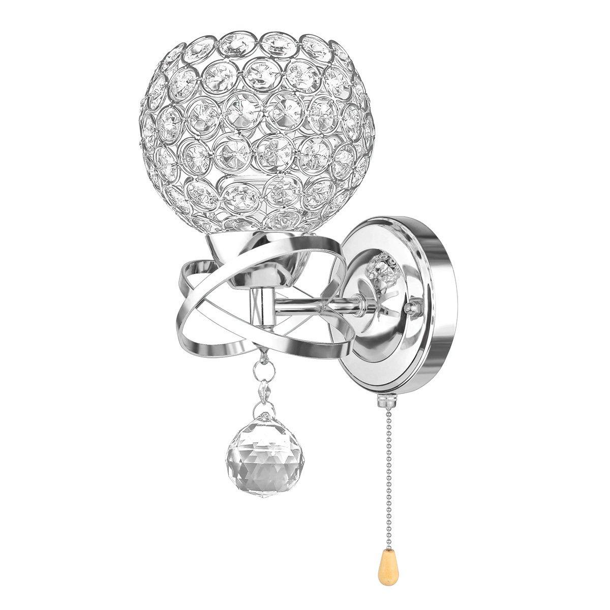 ALLOMN Applique de Style Moderne Avec Interrupteur /à Tirette, 2 PACK Ampoule non Incluse Applique Pendentif Cristal Chambre All/ée Salon Applique Titulaire Prise E14