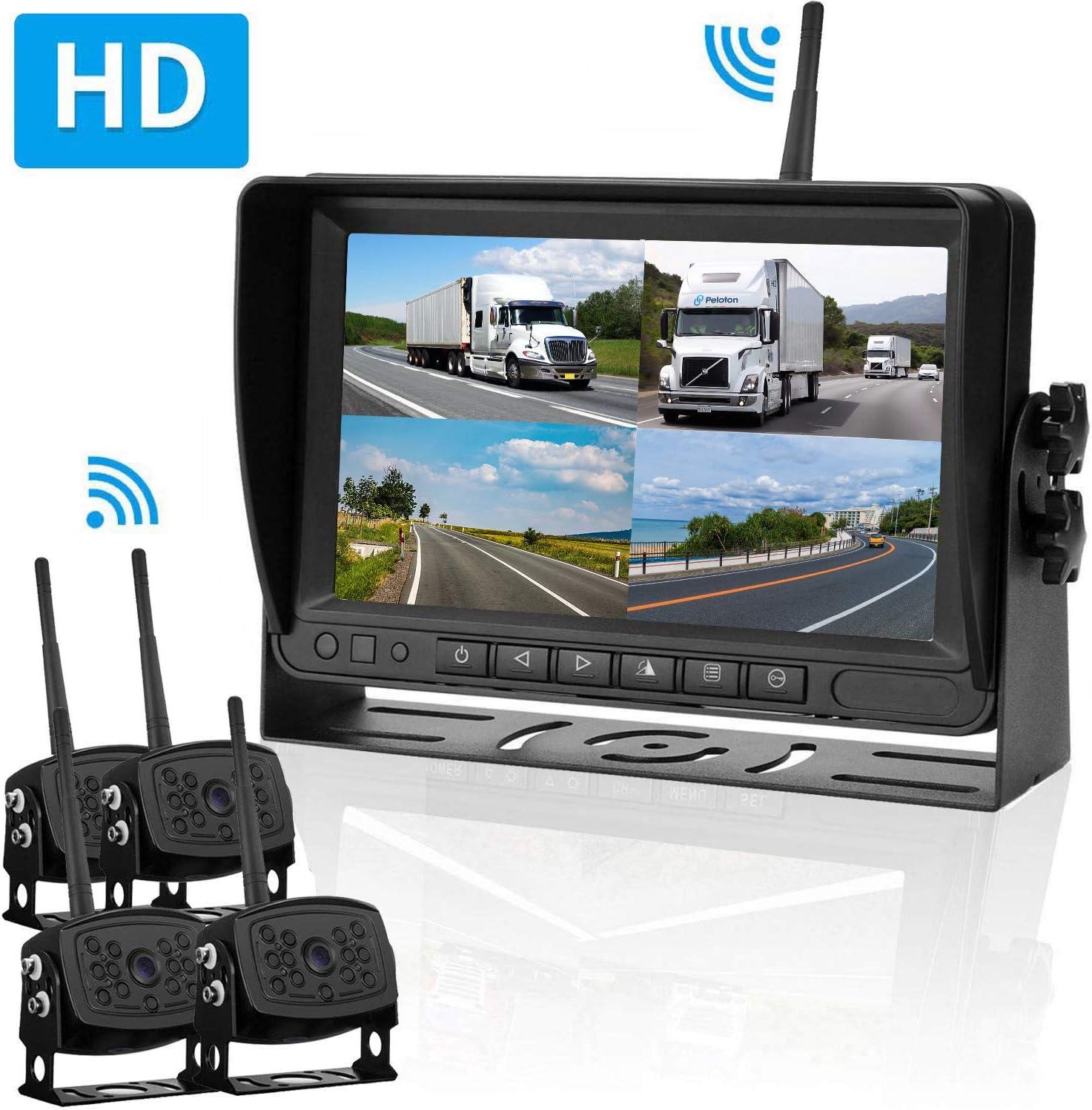 """Wireless Digital Waterproof Backup Camera 7/"""" Split Screen Monitor For RV Truck"""