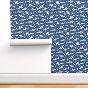 Spoonflower Peel and Stick Removable Wallpaper, Nautical Baby Boy Nursery Shark Sharks Ocean Sea Life Fish Print, Self-Adhesive Wallpaper 24in x 36in Roll