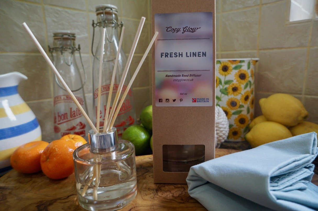 Cozy Glow Fresh Linen 100 ml Reed Diffuser by Cozy Glow