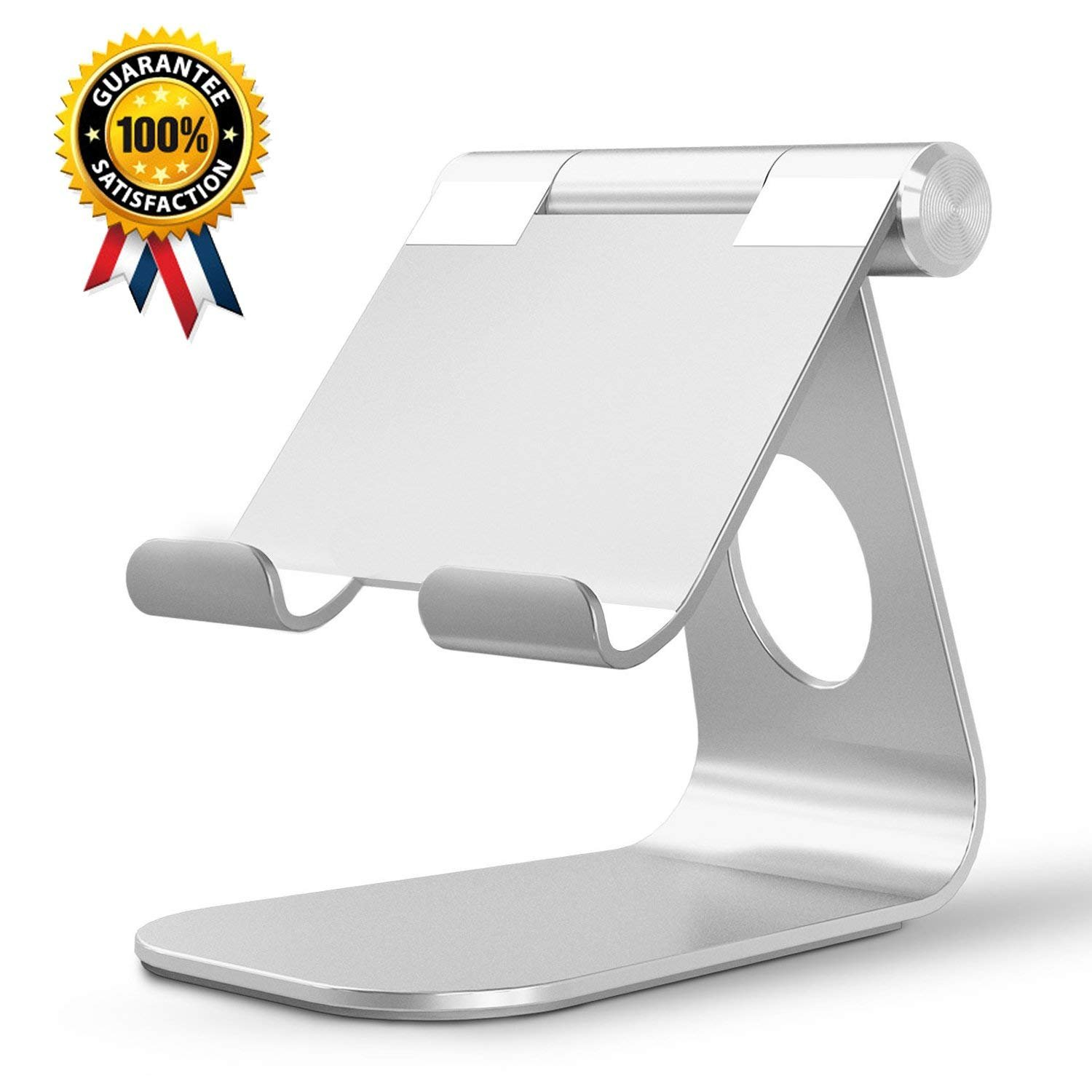 SUPRBIRD Tablet Stands Adjustable Aluminum Cell Phone Stand Stable Base and Convenient Charging Port for iPad, Smart Phones, E-readers and Tablets (4-13 inch) - Silver