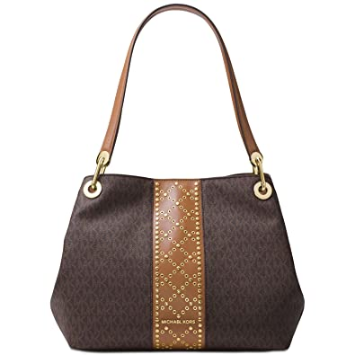 aac1ca379228 Image Unavailable. Image not available for. Color: Michael Kors Women's Raven  Large Signature Shoulder Bag Brown
