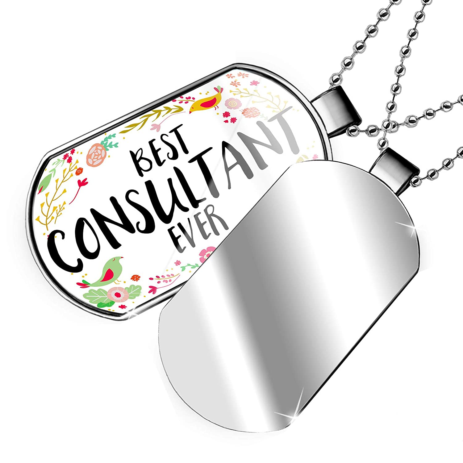 NEONBLOND Personalized Name Engraved Happy Floral Border Consultant Dogtag Necklace