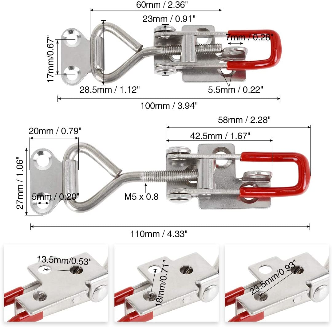 X AUTOHAUX 2pcs Stainless Steel Car Adjustable Pull Toggle Clamp Latch Hasp with Hole 100Kg 220Lbs