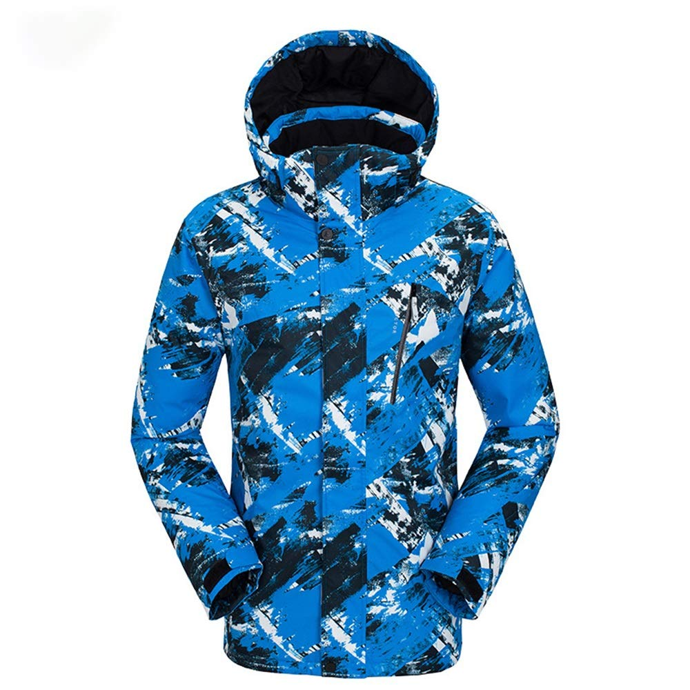 TextureLake blueeMale Large Men's 3-in-1 Ski Jacket Ski Suit Outdoor Winter Couple Windproof Warm Breathable Print Wear-resistant Water-proof Sports Snow Suit Windproof Rain Jacket