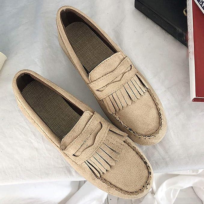 Yvelands Mujeres Liquidación Moda para Mujer Borla Punta Redonda Plana Casual Mocasín Zapatilla Doug Shoes: Amazon.es: Ropa y accesorios