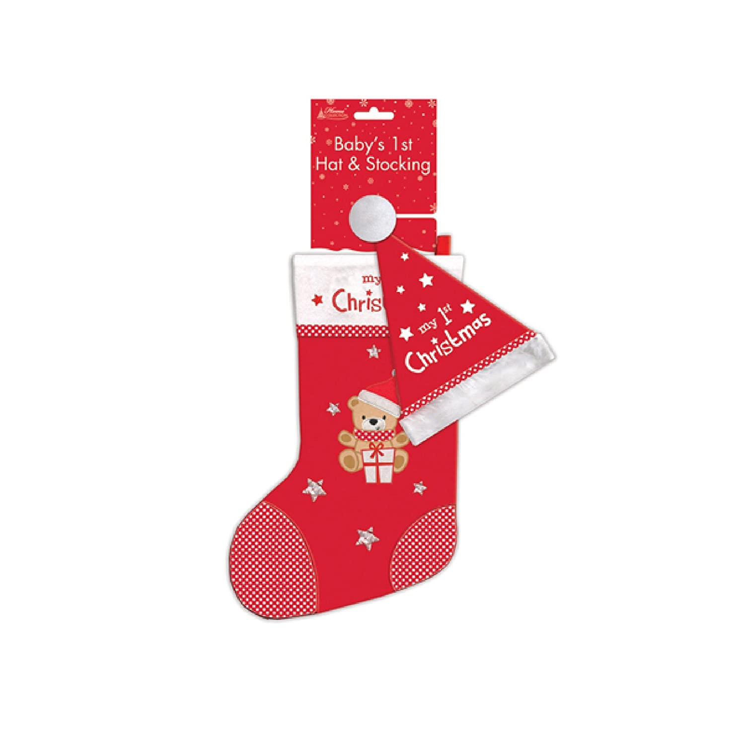 Home Collection Babys 1st Christmas Hat & Stocking Set (One Size) (Red) UTSG13532_1