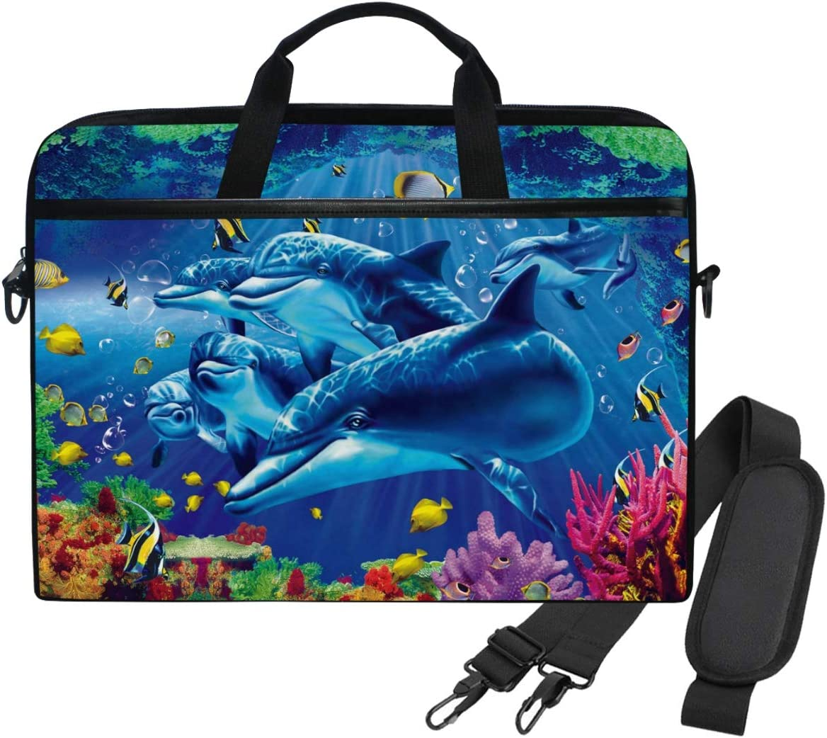 14 Inch Laptop Case Ocean Fish Dolphin Laptop Shoulder Bag Carrying Case with Strap for Women and Men