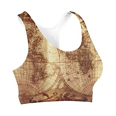 Antique Map Globe Sports Bra Sport-BH XS-3XL: Amazon.de: Bekleidung