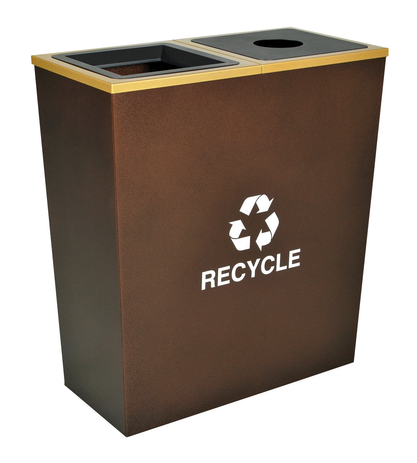 Ex-Cell Kaiser RC-MTR-2 HCPR Metro Collection Steel Two Stream Tapered Indoor Recycling Receptacle, 18 Gallon Liner Capacity, 28'' Length x 14'' Width x 31'' Height, Hammered Copper