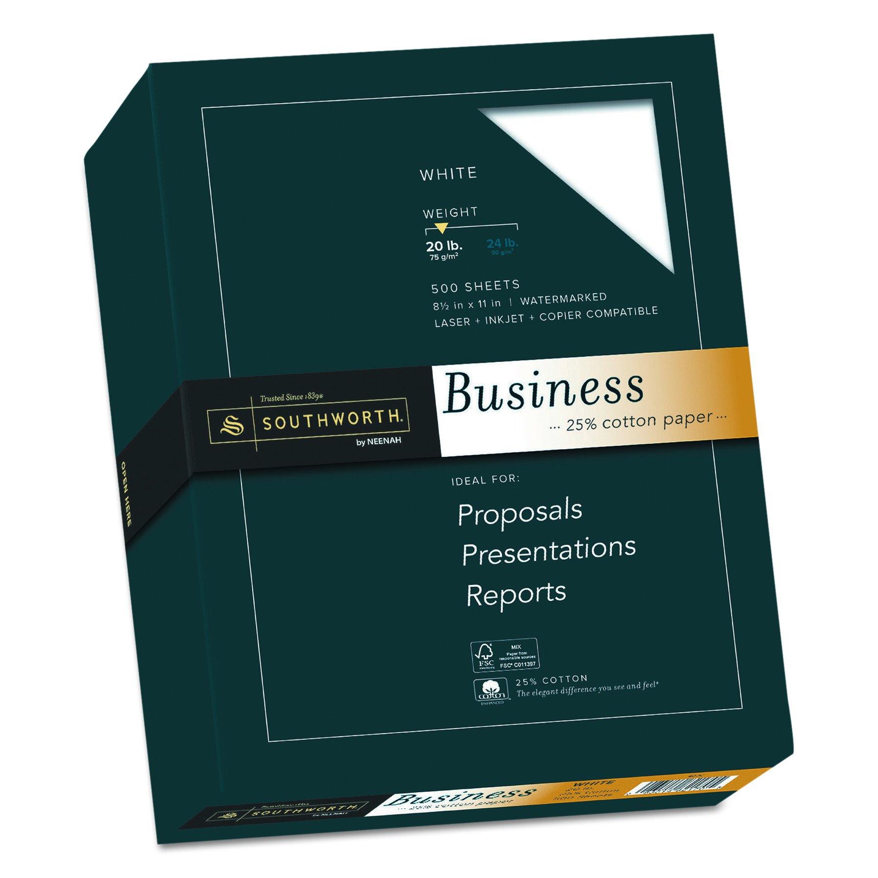 Southworth Fine Business Paper, 20.05 Cotton, 20 lb , White,500 Sheets (403C) by Southworth