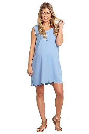 82693fcfb4359 PinkBlush Maternity Light Blue Scalloped Hem Dress, Large at Amazon Women's  Clothing store: