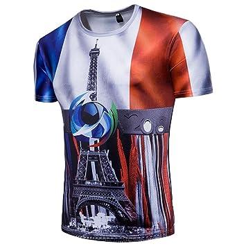 LuckyGirls Camisetas Hombre Originales Estampado de Fútbol Verano Manga Corta Camisas para Copa Mundial FIFA 2018 Casual Remera Moda Francia Polos: ...