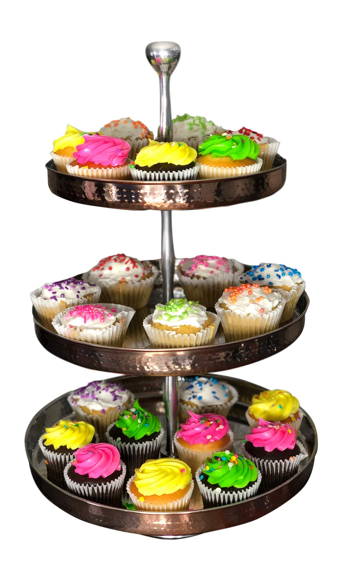 Cupcake Stand Tiered Serving Tray for Cake Dessert Fruit Display Platter by SEVENM (Copper/Silver - 3 Tier)