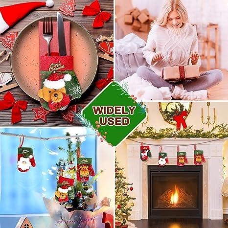 Aceshop 4 Pezzi Tuta Di Posate Natalizie Set Di Decorazioni Per La Tavola Di Coltelli Forchetta Stoviglie Sacchetto Di Posate Tasche Guanti Di Natale Per La Casa Ristorante Sala Da Pranzo Portaposate