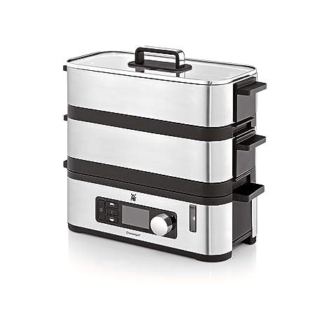 WMF Kitchenminis Vaporera 900 W de hasta 4.3 L y depósito de Agua de 1.1 L, Dos Zonas de cocción y función de Mantenimiento de la Calor, Acabados de ...