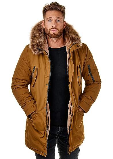 1d5d9d709949 EightyFive EF7128 Herren Parka Mantel Winter Jacke Fell Schwarz Khaki  CamelXS-XL