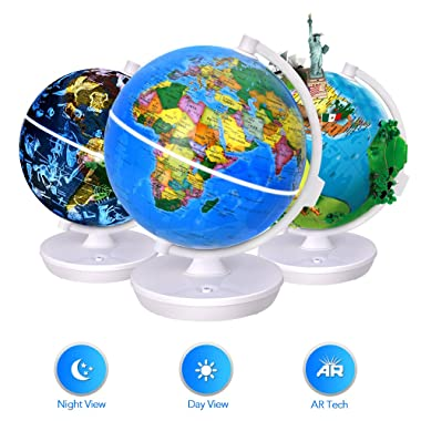 Smart World Globe - 2 In 1 Illuminated Globe with Built-in Augmented Reality Technology, Earth by Day, Constellations by Night, AR App Experience, Adventure and Discovery, Educational Gift for Child