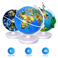 Smart World Globe - 2 In 1 Illuminated Globe with Built-in Augmented Reality Technology, Earth by Day, Constellations by Night,Educational Gift for Child (Colors may vary)