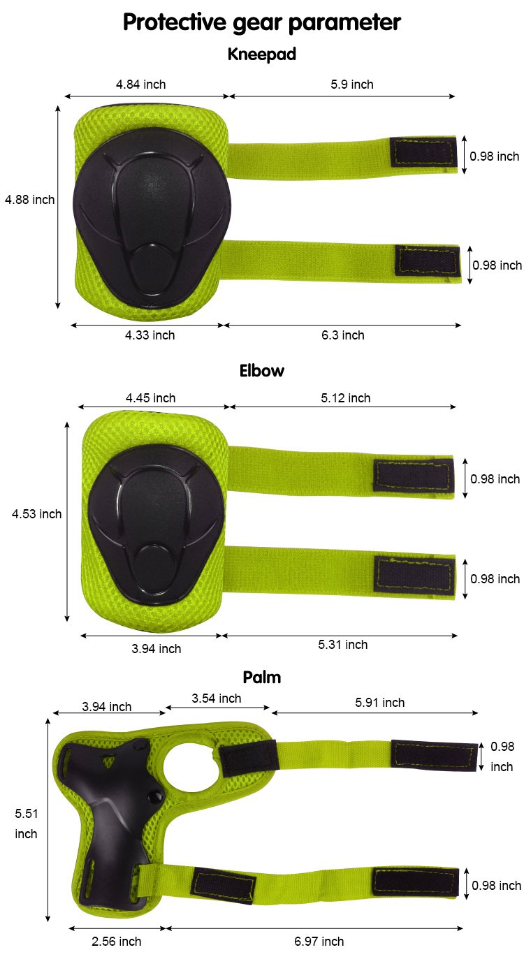 LANOVAGEAR Kids Protective Gear Set Adjustable Helmets Knee Elbow Pads Wrist Guards for Sports Bicycle Skateboard Roller Blading Skate Cycling (Yellow-Green, Small) by LANOVAGEAR (Image #6)