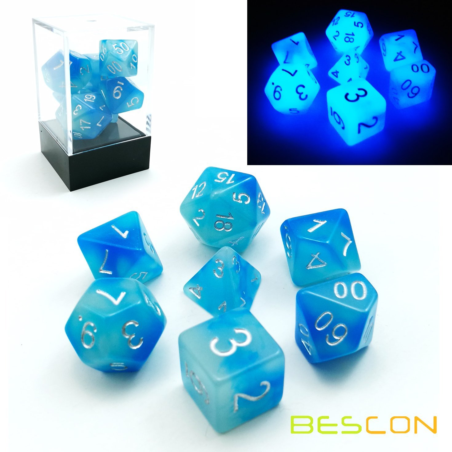 Bescon Gemini Glowing Polyhedral Dice 7pcs Set ICY ROCKS, Luminous RPG Dice Set d4 d6 d8 d10 d12 d20 d%, Brick Box Packaging by BESCON DICE (Image #1)
