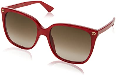Womens GG0022S Sunglasses, Red-Red-Brown, 57 Gucci