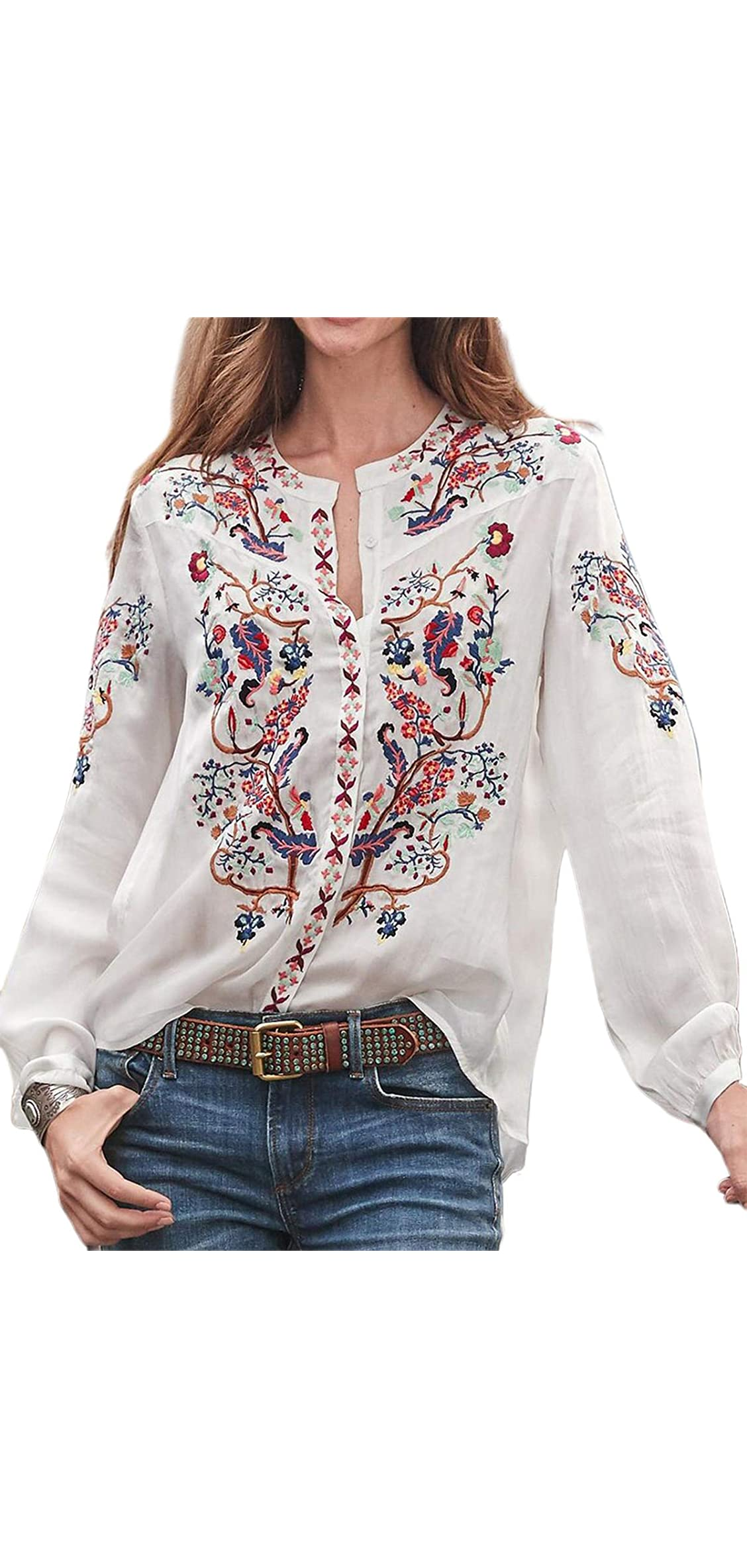 Women Embroidered Tops Shirts Boho Floral Print Long Tunic
