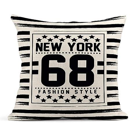 Cojín Frase Azul Marino Lema Nueva York y Varsity en ...