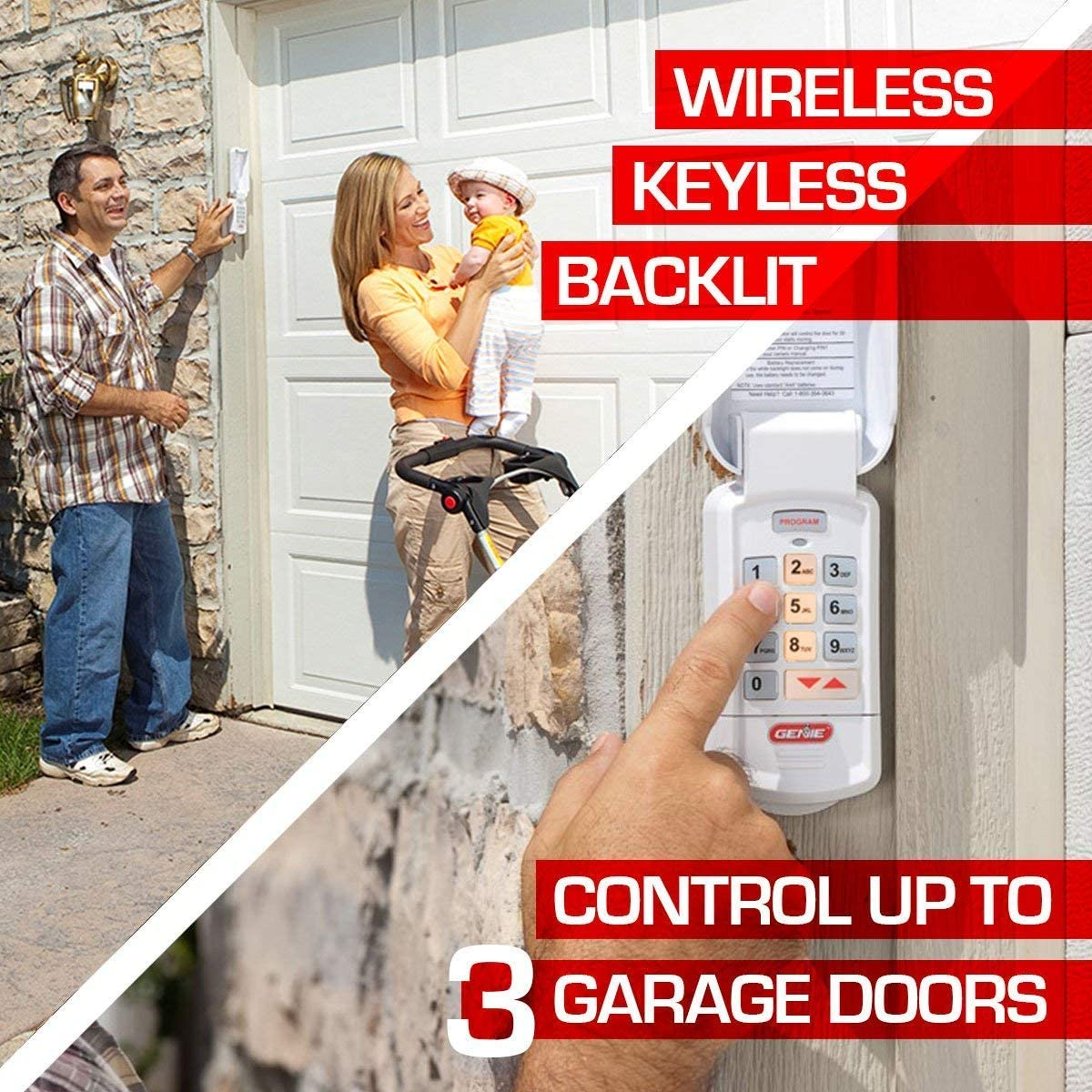Safe /& Secure Access Easy Entry into The Garage with a PIN Genie Garage Door Opener Wireless Keyless Keypad 2 Pack Model GK-R Compatible with All Genie Intellicode Garage Door Openers