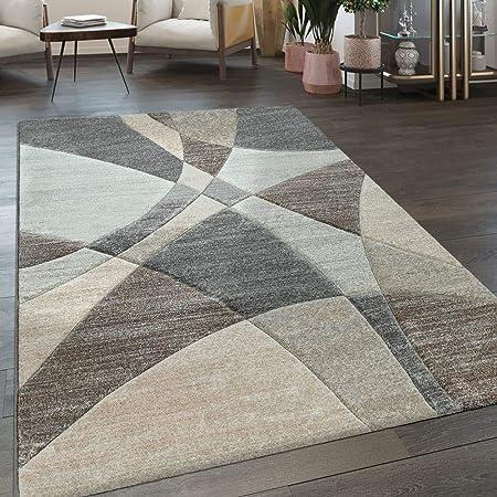 Paco Home Tappeto da Soggiorno a Pelo Corto con Moderno Motivo Geometrico  in Blu Pastello, Dimensione:60x100 cm