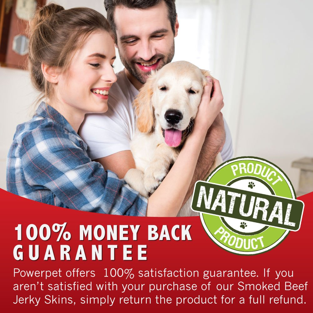 Powerpet: Smoked Beef Jerky Skins - Natural Dog Chew - 8 OZ Pack - Helps Improve Dental Hygiene - 100% Natural & Highly Digestible - Protein with Low Fat - Beef Jerky Dog Treat - Beef Skin and Meat by Powerpet (Image #7)