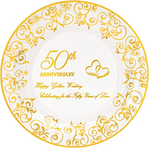 Amazon Com Crisky 50th Anniversary Gold Plates Golden Wedding