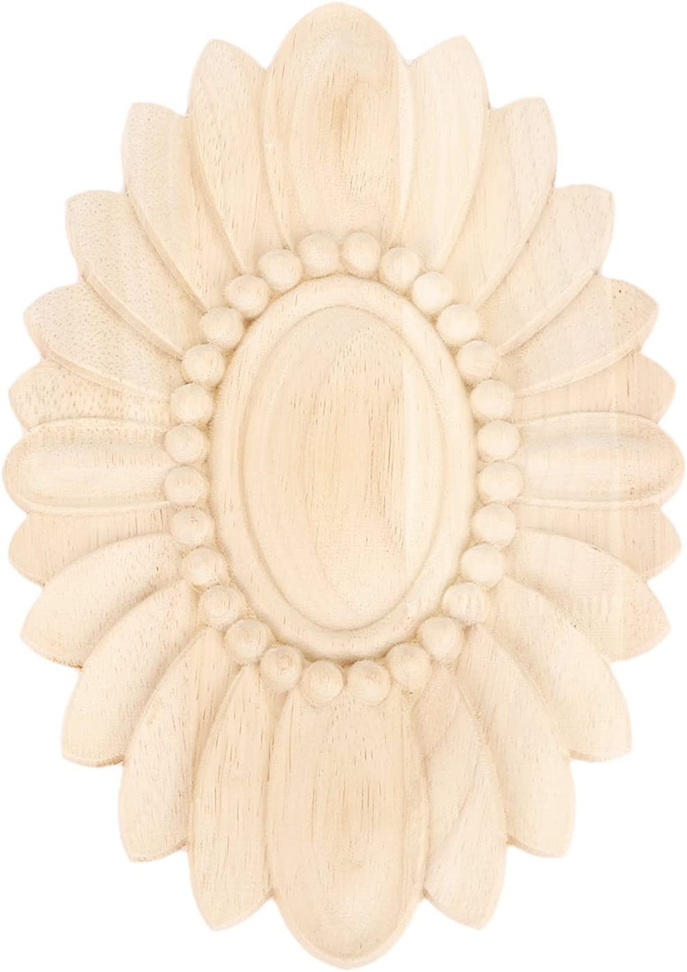 MUXSAM 1Pc Wood Furniture Applique Onlay Carved Unpainted Decoration for Furniture Door Cabinet Wall (24x17cm/9.45