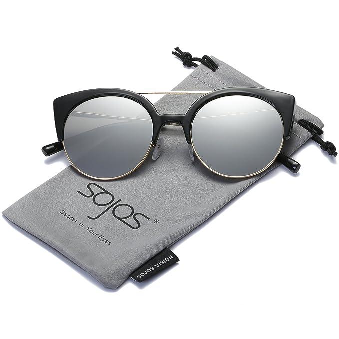 SojoS Gafas De Sol Mujer Marco Metal Ojo De Gato Clásico Retro Vintage  SJ2035 Marco Negro Lentes Plateadas  Amazon.es  Ropa y accesorios 230718547f45
