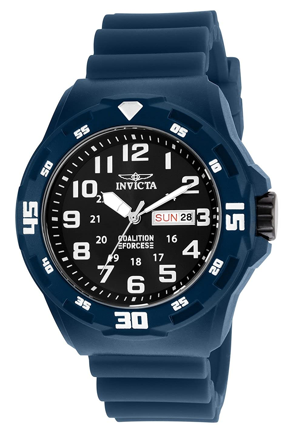 Amazon.com: Invicta Mens Coalition Forces Stainless Steel Quartz Watch with Silicone Strap, Blue, 18 (Model: 25324: Invicta: Watches