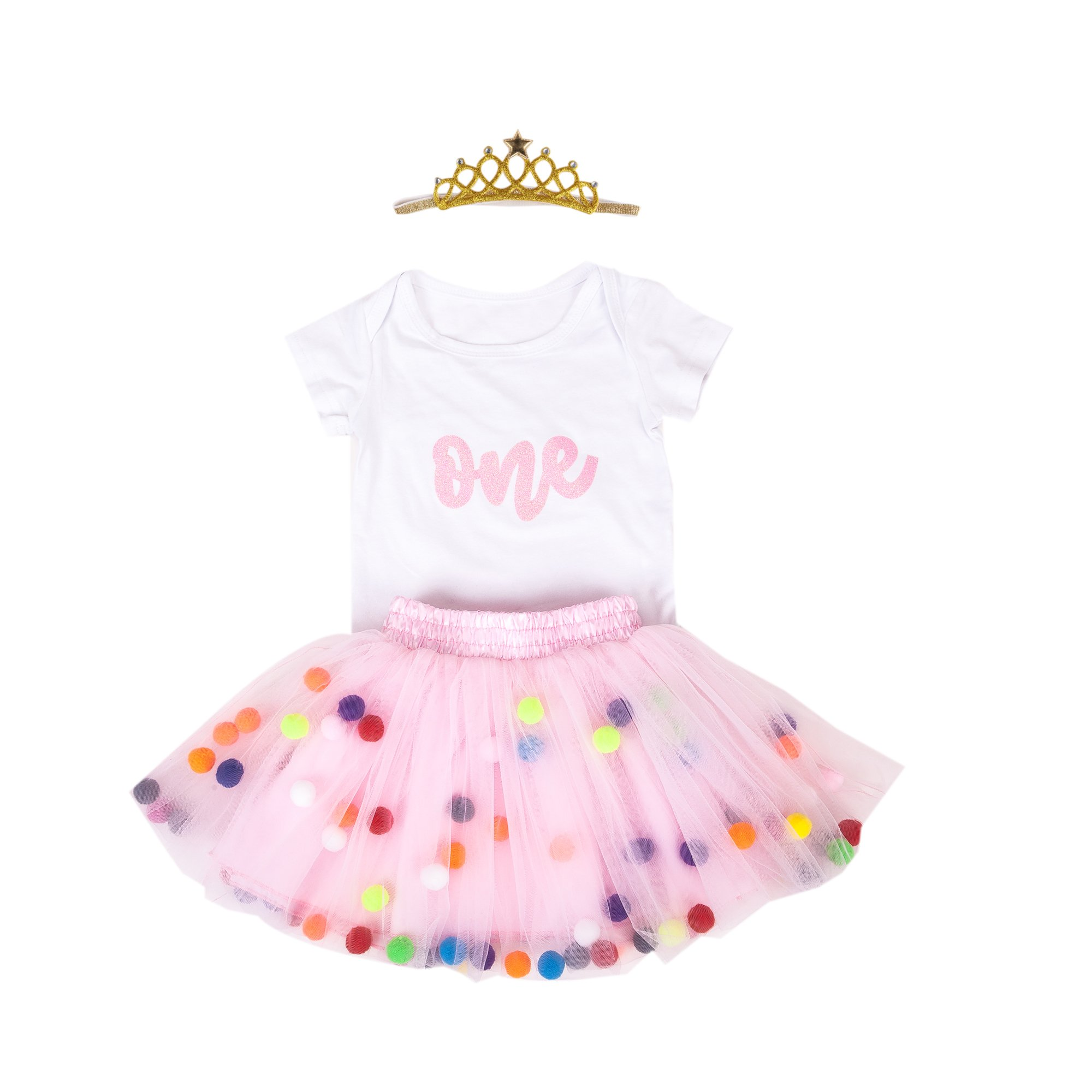 Baby Girls 1st Birthday Outfit Glitter One Romper Balls Skirt Crown Headband (Pink01, 12-18Months)
